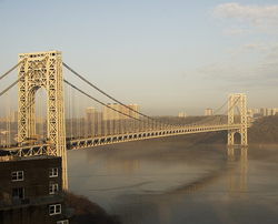 George Washington Bridge                                over the Hudson River, looking west from                                 Manhattan                                to                                 Fort Lee                                and the                                 Palisades