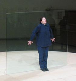 Abramović performing                                 Bruce Nauman                                's                                                   Body Pressure                                                 ,                                 Guggenheim Museum                                , 2005