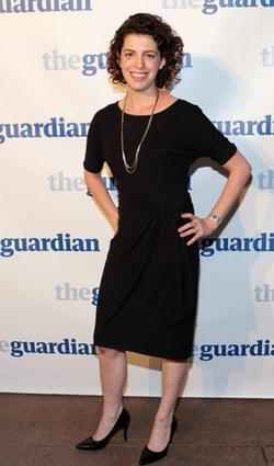 Molly Ball in front of            The Guardian          's wall