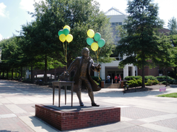 Statue in front of the Johnson Center
