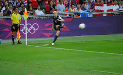 Rapinoe takes a corner kick in the gold medal match at the 2012 London Olympics