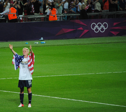 Rapinoe after the gold medal match at 2012 Summer Olympics; August 9, 2012