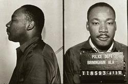 King following his arrest in Birmingham