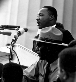 """King is most famous for his """"I Have a Dream"""" speech, given in front of the Lincoln Memorial during the 1963 March on Washington for Jobs and Freedom."""