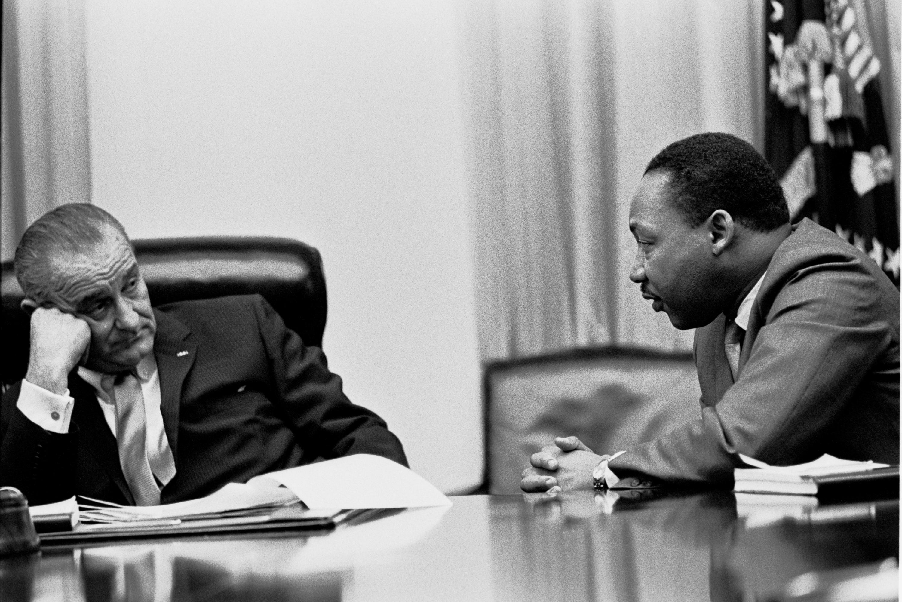President Lyndon B. Johnson with King in 1966