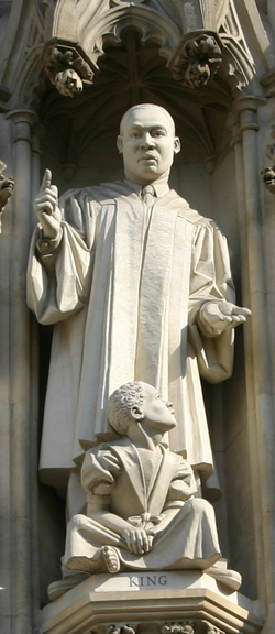 Martin Luther King Jr. statue over the west entrance of Westminster Abbey, installed in 1998
