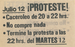 Pamphlet calling for a protest in 1983 following the economic crisis attributed to neoliberal experimentation