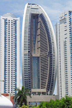 The Trump Organization                                owns, operates, develops, and invests in real estate worldwide such as                                 Trump Ocean Club International Hotel and Tower                                (                                 center                                ) in                                 Panama City                                ,                                 Panama                                .