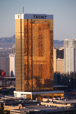 Trump Hotel Las Vegas                                whose exterior windows are                                 gilded                                with 24-carat gold                                                   [173]