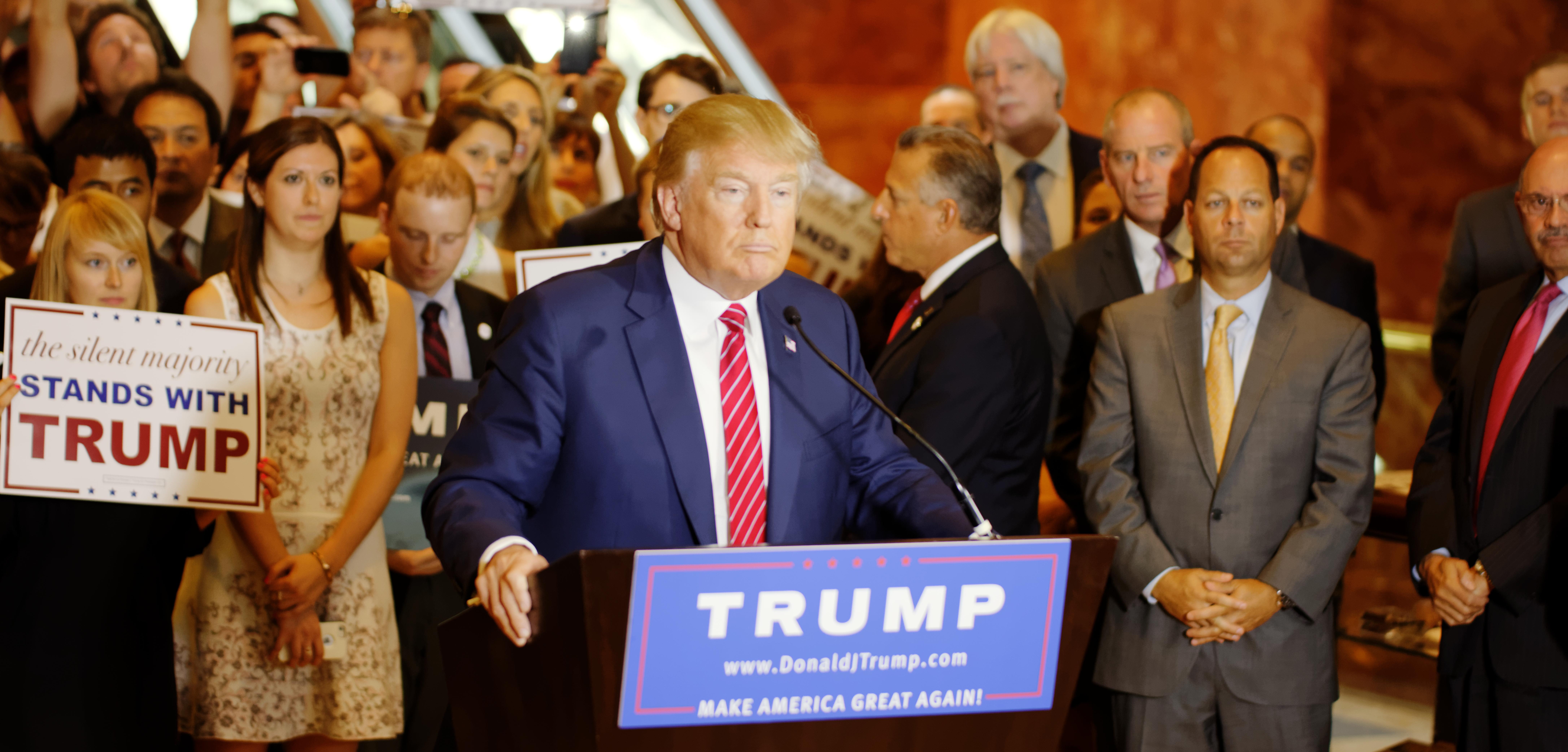 Trump declaring party loyalty, September 3, 2015, Trump Tower