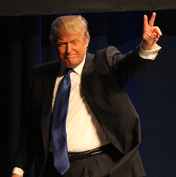 Trump after speaking at                                 Conservative Political Action Conference                                in February 2011