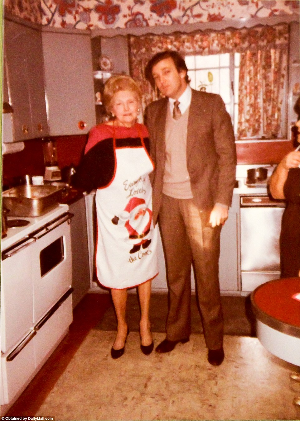 Donald with his mother Mary Trump at her humble abode during Christmas