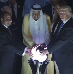 President Trump helping Saudi King Salman and Egyptian President Abdel Fattah al-Sisi open the Global Center for Combating Extremist Ideology.