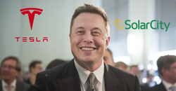 A gleeful photo of Elon Musk, the largest shareholder of both companies.