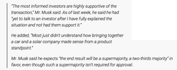 An Elon quote about the acquisition.