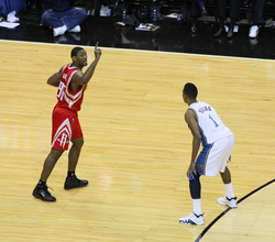 Artest playing for the Houston Rockets in the 2008–09 NBA season.
