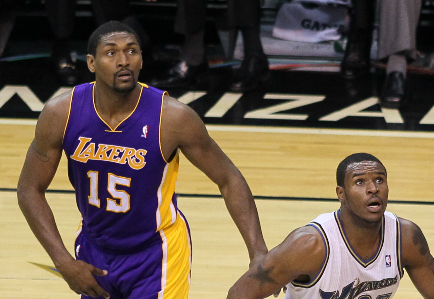 Artest with Trevor Booker of Washington in 2010.