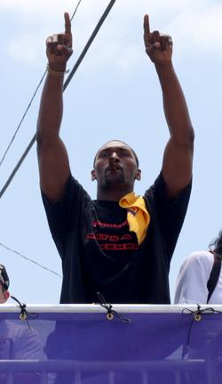 Artest celebrates at the 2010 Lakers Championship parade.