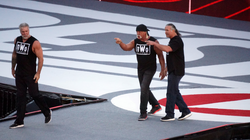 The three original members of the nWo making their way to the ring at WrestleMania 31 in 2015.