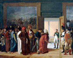The Iranian Envoy Mirza Mohammed Reza-Qazvini meeting with Napoleon I at the Finckenstein Palace, 27 April 1807, to sign the Treaty of Finckenstein.