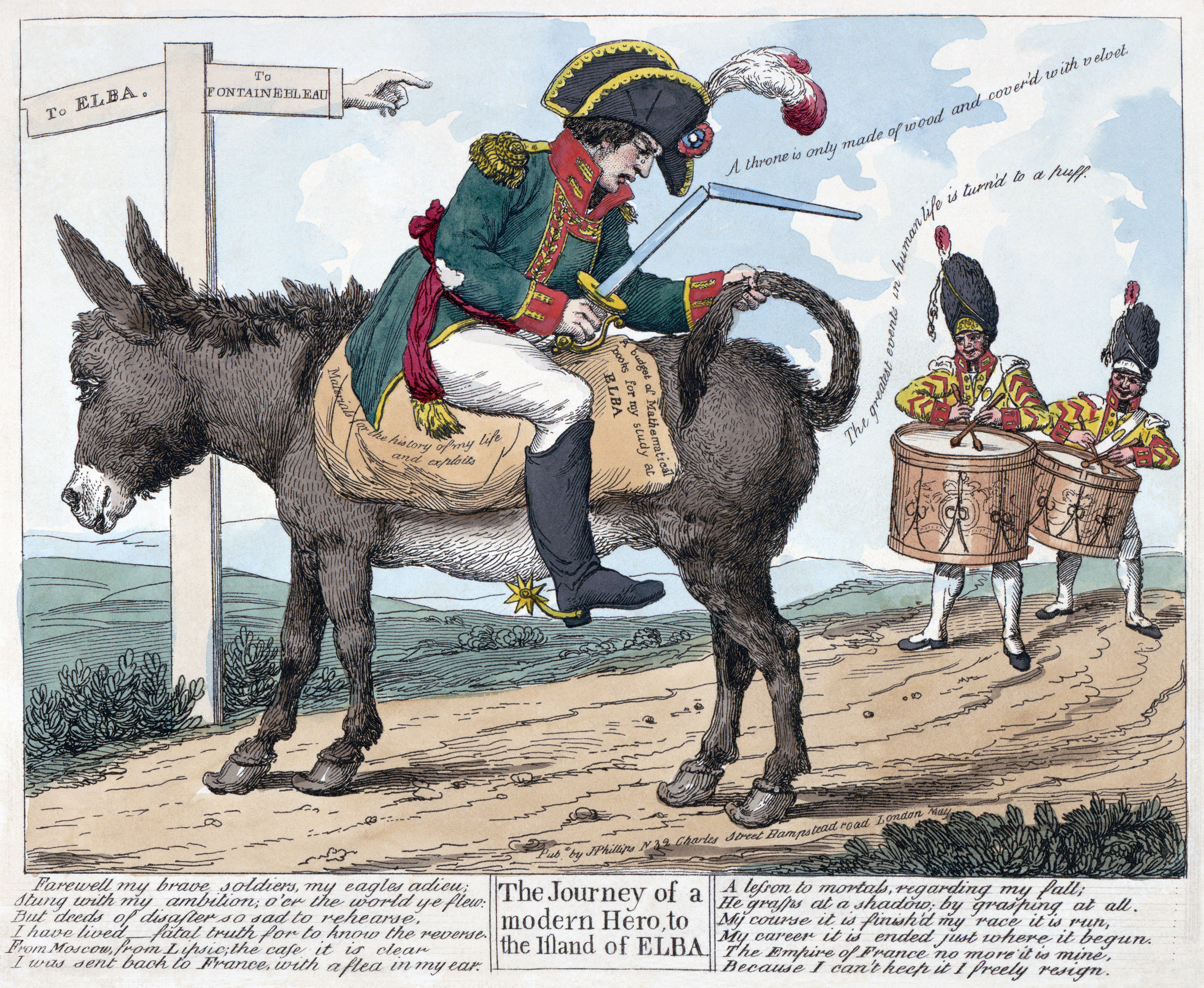 British etching from 1814 in celebration of Napoleon's first exile to Elba at the close of the War of the Sixth Coalition