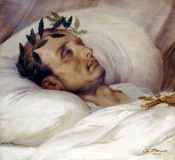 Napoleon on his death bed, by Horace Vernet, 1826