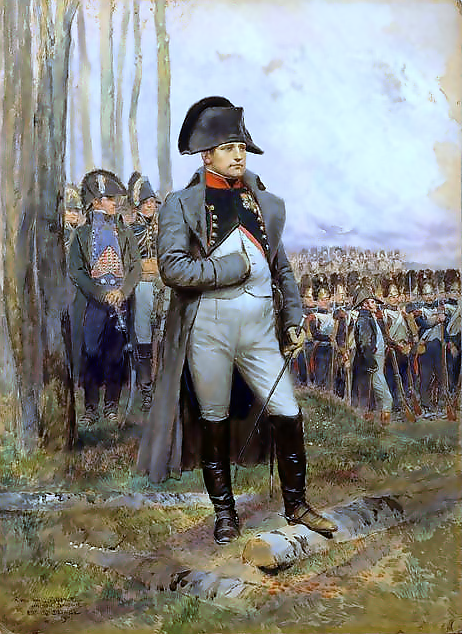 Napoleon is often represented in his green colonel uniform of the Chasseur à Cheval of the Imperial Guard, the regiment that often served as his personal escort, with a large bicorne and a hand-in-waistcoat gesture.