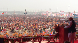 Modi addressing a rally in Meerut during the 2014 campaign.