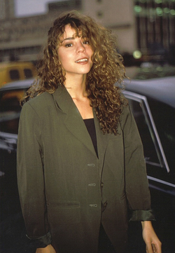 "Carey exiting Shepherd's Bush Empire after promoting her single ""Vision of Love"" on Wogan, in 1990"