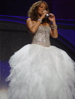 Carey performing at a concert in Las Vegas in 2010.