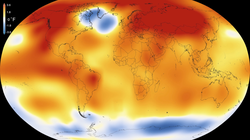 2015 – Warmest Global Year on Record (since 1880) – Colors indicate temperature anomalies (                                 NASA                                /                                 NOAA                                ; 20 January 2016).                                                   [44]