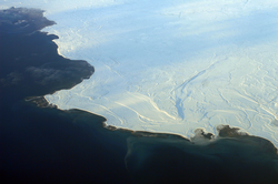 Sea ice, shown here in                                 Nunavut                                , in northern Canada, reflects more sunshine, while open ocean absorbs more, accelerating melting.