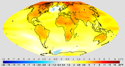 Projected change in annual mean surface air temperature from the late 20th century to the middle 21st century, based on a medium                                 emissions scenario                                (SRES A1B).                                                   [175]                                                 This scenario assumes that no future policies are adopted to limit greenhouse gas emissions. Image credit:                                 NOAA                                                 GFDL                                .                                                   [176]