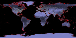 Map of the Earth with a six-meter sea level rise represented in red.