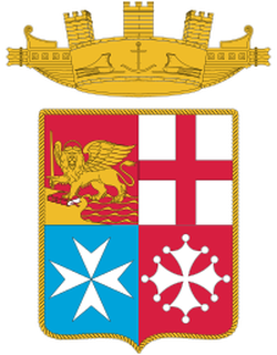 Flag of the Italian Navy, displaying the coat of arms of the most prominent maritime republics (clockwise from left): Venice, Genoa, Pisa and Amalfi.