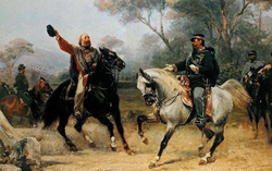 Victor Emmanuel                                meets                                 Giuseppe Garibaldi                                near Teano.