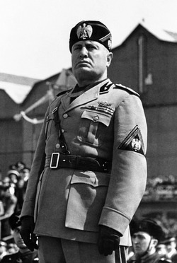 Benito Mussolini, Duce of Fascist Italy.