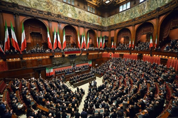 The Italian Chamber of Deputies in plenary section.