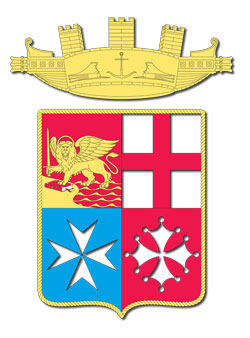 Flag of the Italian Navy, displaying the coat of arms of the most prominent maritime republics (clockwise from left): Venice, Genoa, Pisa and Amalfi