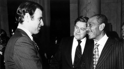 Senator Biden, Senator Frank Church and President of Egypt Anwar el-Sadat after signing Egyptian–Israeli Peace Treaty, 1979