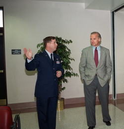 Biden receiving a 1997 tour of a new facility at Delaware's Dover Air Force Base