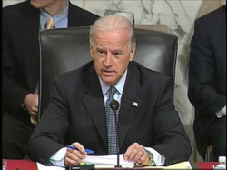 Biden gives an opening statement and questions at a Senate Foreign Relations Committee hearing on Iraq in 2007