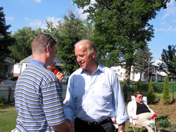 Biden campaigning at a house party in Creston, Iowa, July 2007.