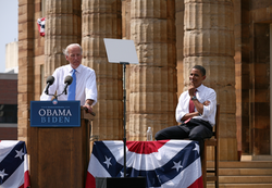 Joe Biden speaking at the August 23, 2008 vice presidential announcement in Springfield, Illinois, while presidential nominee Barack Obama listens