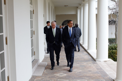 President Obama walking with Vice President Biden at the White House, February 2009