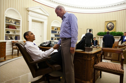 Biden shook hands with President Obama immediately after a call to House Speaker John Boehner concluded the debt ceiling deal that led to the Budget Control Act of 2011. Biden played a key role in forging the deal.