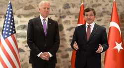 "Biden meeting Turkish Prime Minister Ahmet Davutoğlu, 31 December 2014. Biden said that Kurdish PKK is a ""terrorist group"""