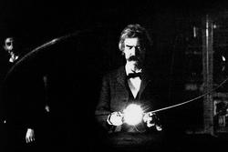 Twain in the lab of Nikola Tesla, early 1894