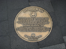 Plaque on Sydney Writers Walk commemoratng the visit of Mark Twain in 1895