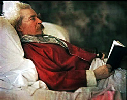 A color photograph taken of Mark Twain in 1908, using the recently developed Autochrome Lumiere process